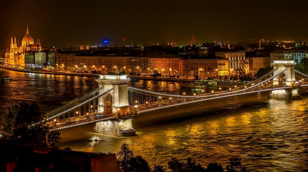 The Chain-Bridge in Budapest on the river Donau