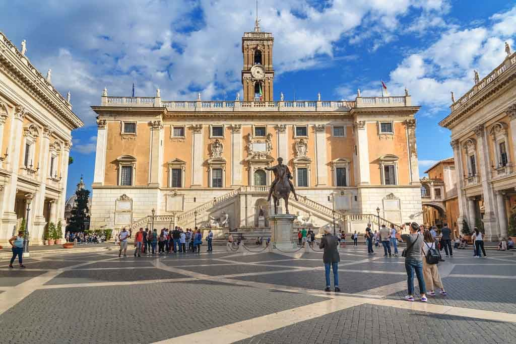 Der Senatorenpalast auf dem Kapitol in Rom, Italien