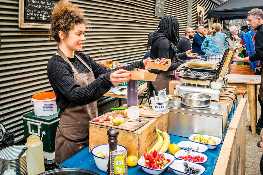 The Maltby Street Market in Bermondsey. Great artisan street food stalls and bars
