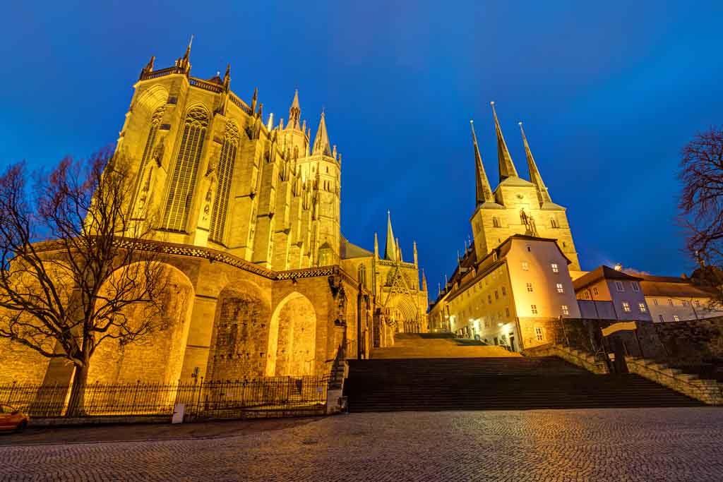Der Erfurter Dom und die Severikirche auf dem Domhügel