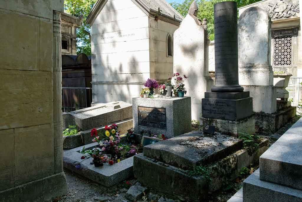 Das Grab von Jim Morrison auf dem Cimetière du Père Lachaise in Paris