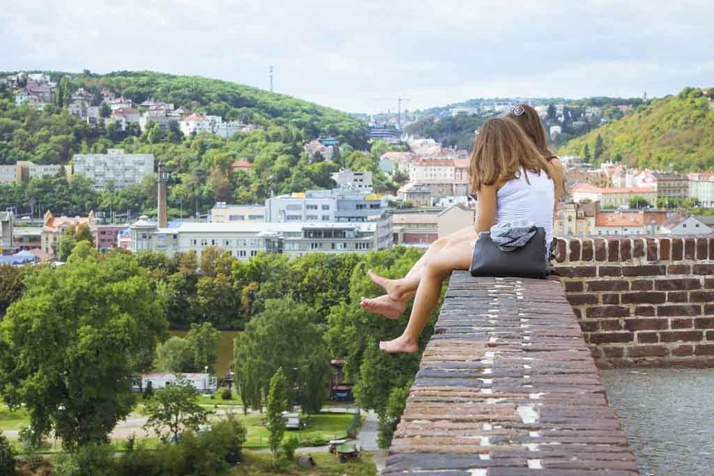 Von Vysehrad hat man einen grandiosen Ausblick über Prag