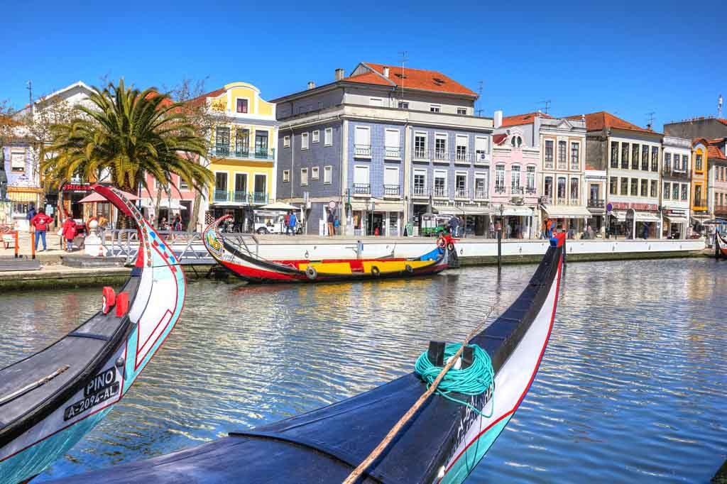 Die Hafenstadt Aveiro am Rio Vouga, Portugal