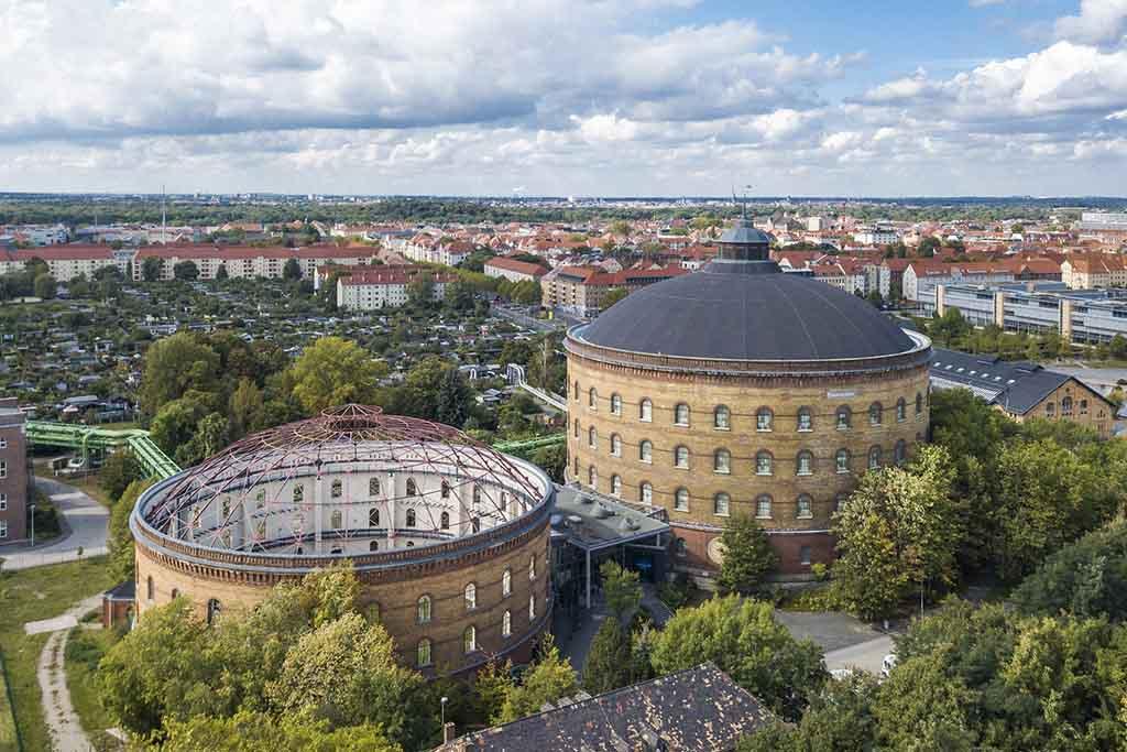 Blick auf das Panometer in Dresden